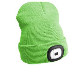 Čepice s čelovkou, univerzální velikost, fluorescentní zelená SIXTOL