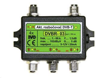 """Ivo DVBR-03 aktivní rozbočovač 4x výstup""""F"""" 5dB zisk"""